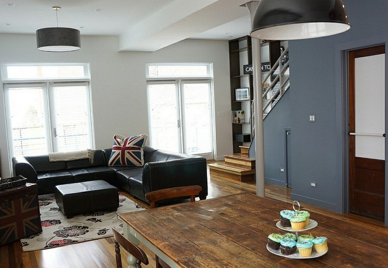 salones de diseño madera gris lampara muebles