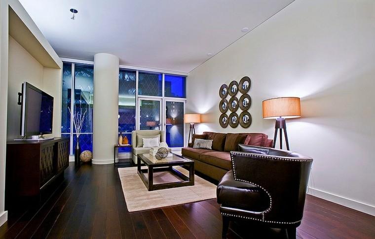 salones de diseño piel sofa madera masculino