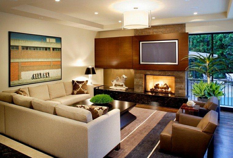 salones de diseño plantas rayas alfombra cuadro