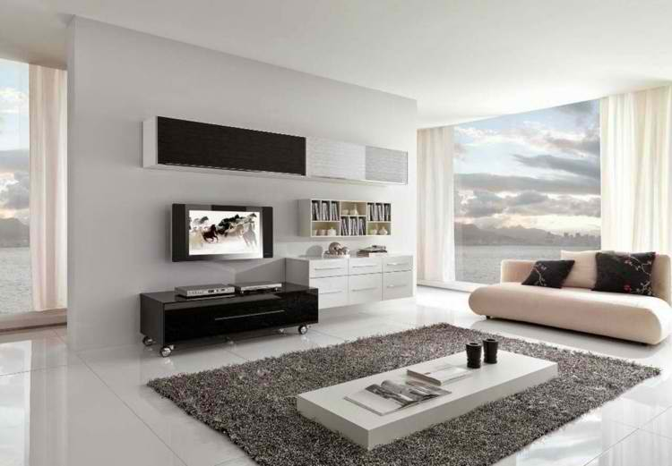 salones modernos alfombra minimalista cortinas