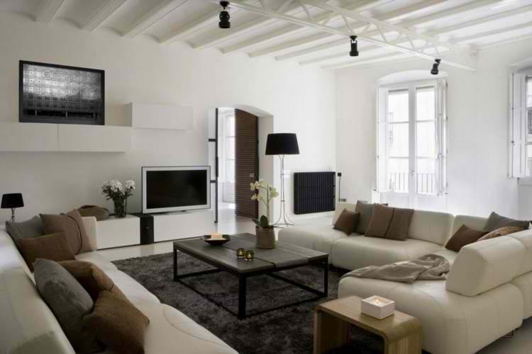 salones modernos sofa blanco mesa auxiliar