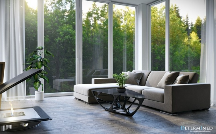 salita salon iluminado sofa gris