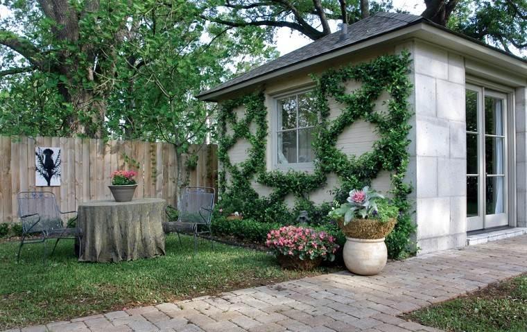 senderos jardines mesa metalica muebles