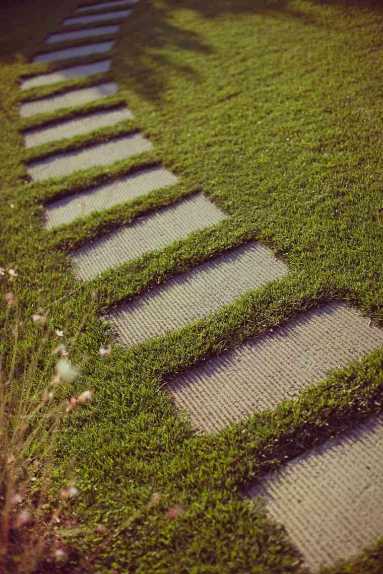 senderos jardines cesped decoracion jardin hormigon