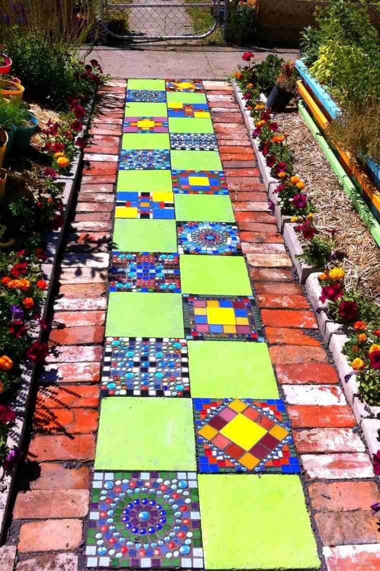 senderos jardines diy colorido ladrillos plantas
