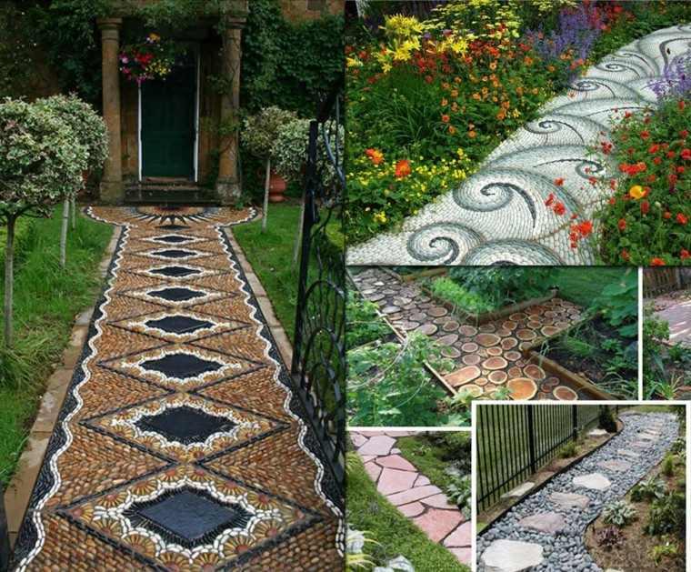 senderos jardines flores patio camino figuras