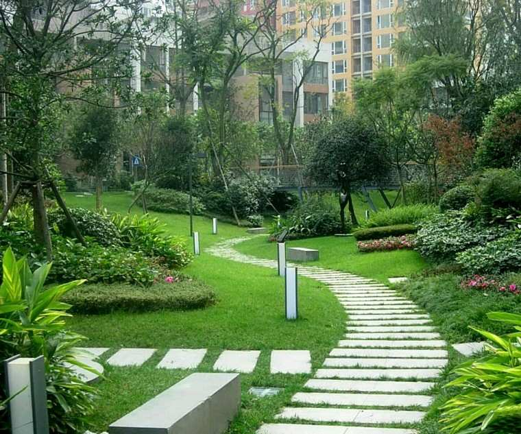 senderos jardines hormigon piezas resistente camino