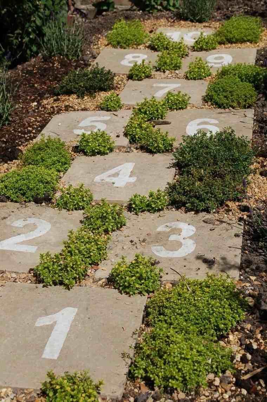 senderos jardines numeros juego grava