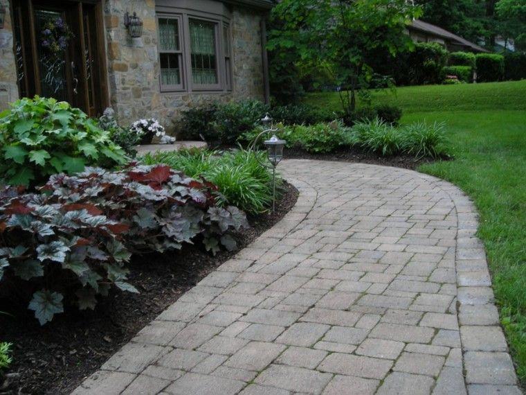 senderos jardines plantas lampara elegante casa