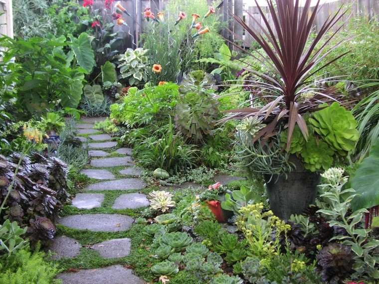 senderos jardines plantas maceta hierba