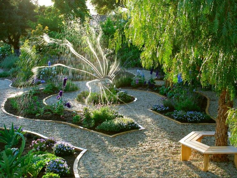 senderos jardines regadio arboles banca camino