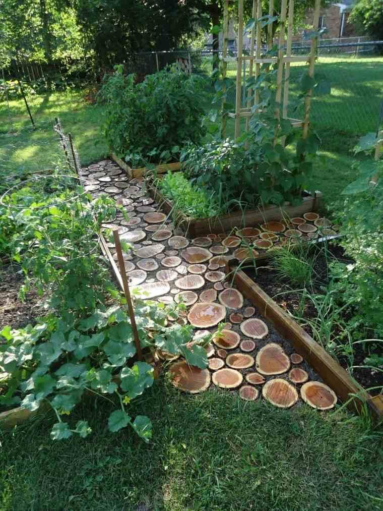 senderos jardines troncos patio cercado ornamental