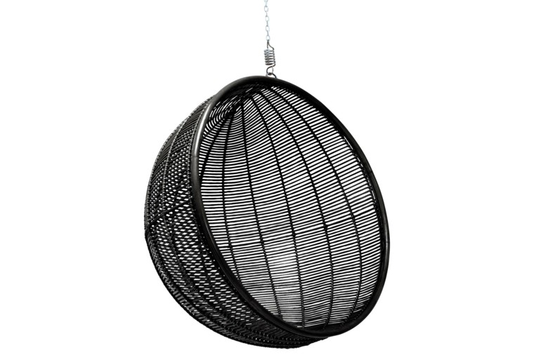 silla colgante forma redonda jardin color ideas negro