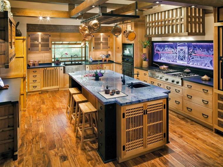 silla madera isla encimera cristal ideas cocina moderna