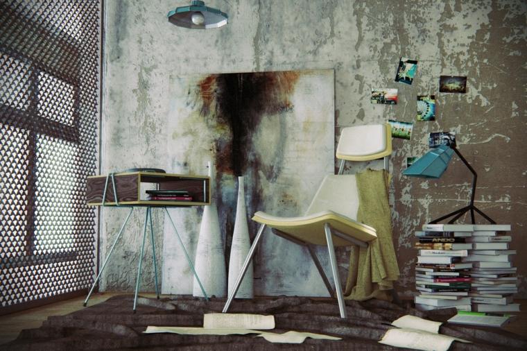 silla moderno libros lamparas cuadro