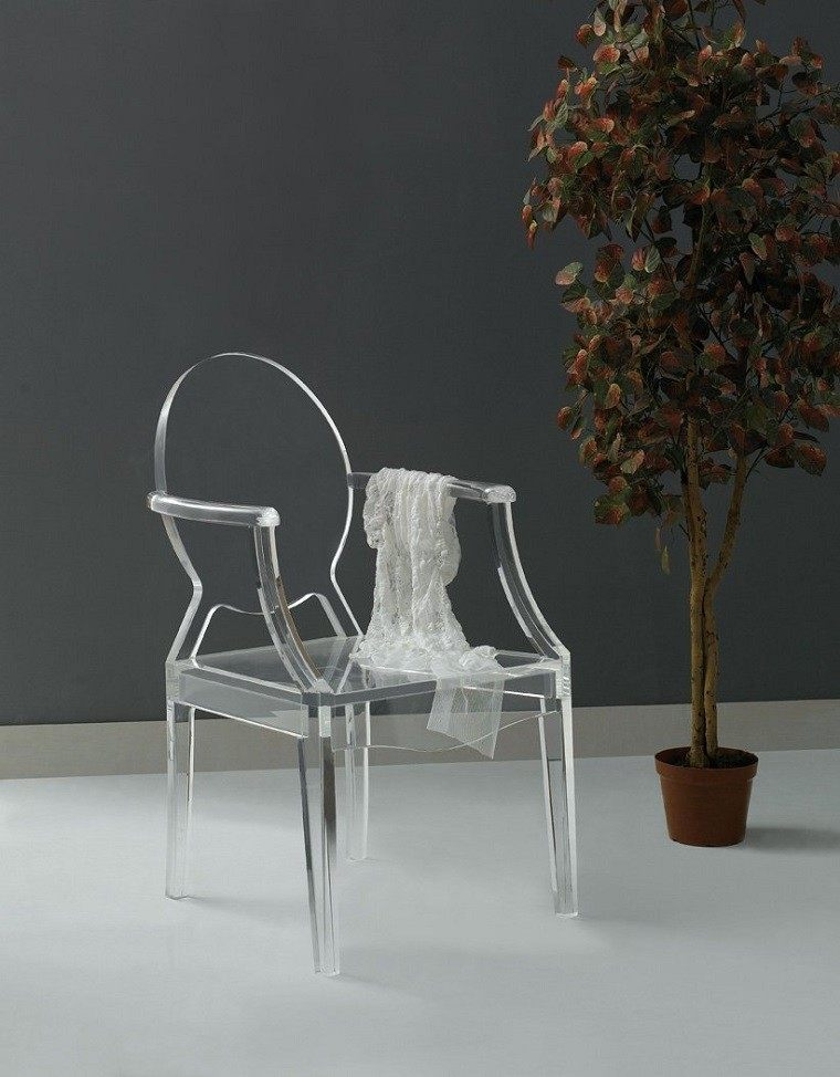 silla tela maceta planta diseño moderno