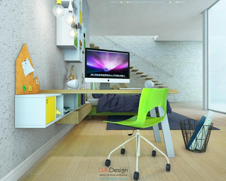 silla verde escritorio niño joven