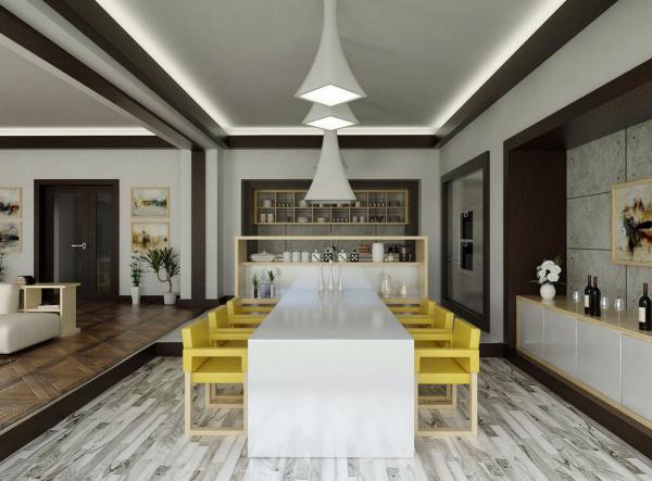 Mesas de cocina o comedor de dise o moderno tendencias for Sillas cocina amarillas