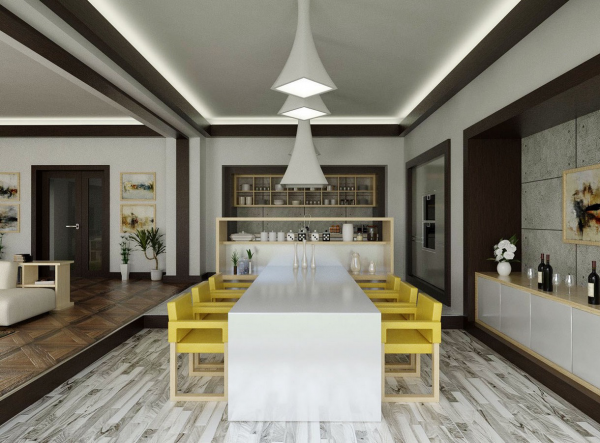 sillas amarillas mesa blanca moderna