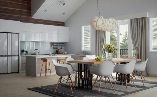 sillas cocina blancas patas madera
