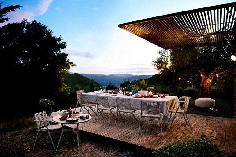 sillas comidas pergola ideas exterior lujoso moderno