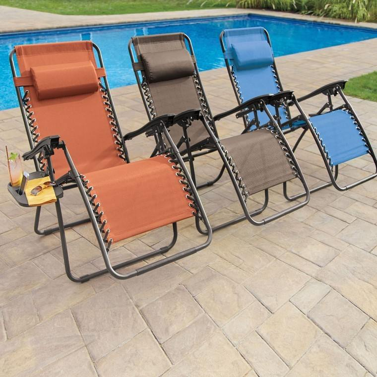 sillas comodas plegables piscina modernas colores ideas