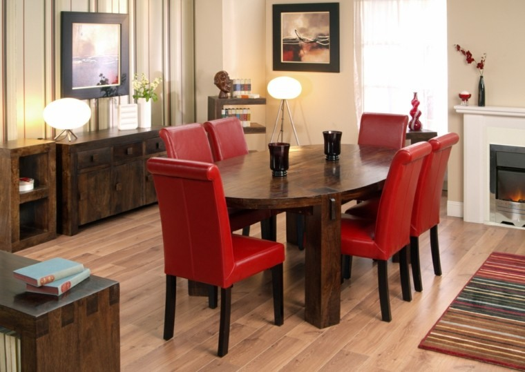 sillas atrevidas cuero rojo mesa madera ideas comedor