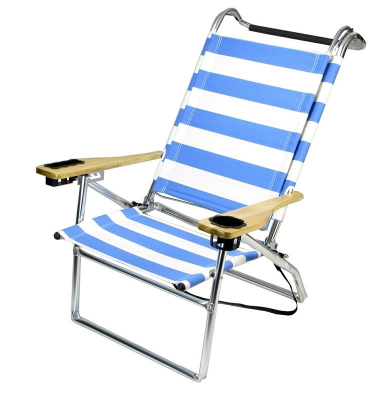 sillas de playa acero brazos rayas madera