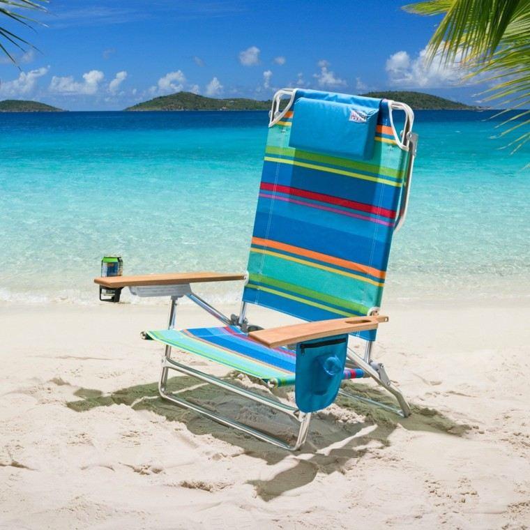 sillas de playa aluminio vaso palmeras bolsillo