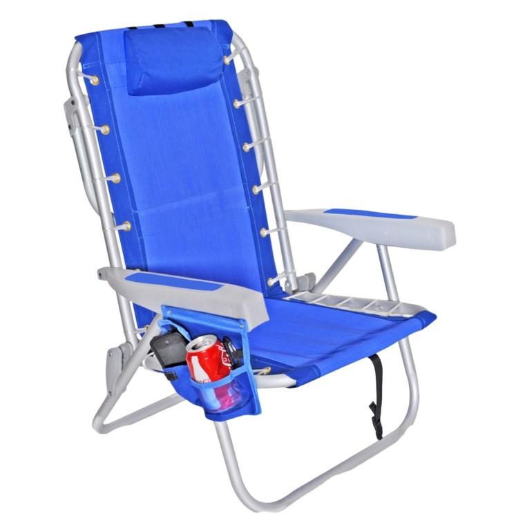 sillas de playa azul cuerdas bolsillo bebidas