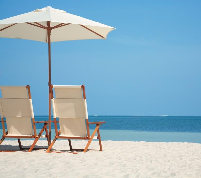 sillas de playa madera lona plegables sombrilla