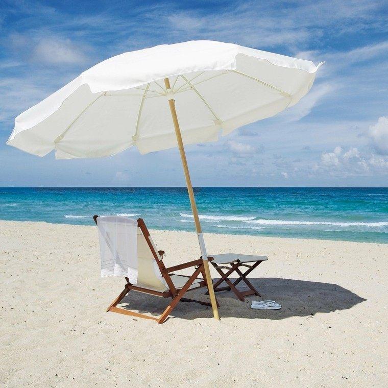 sillas de playa madera textileno blanca ligera sombrilla