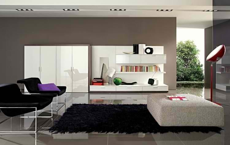 sillas librero lampara plantas alfombra oscura