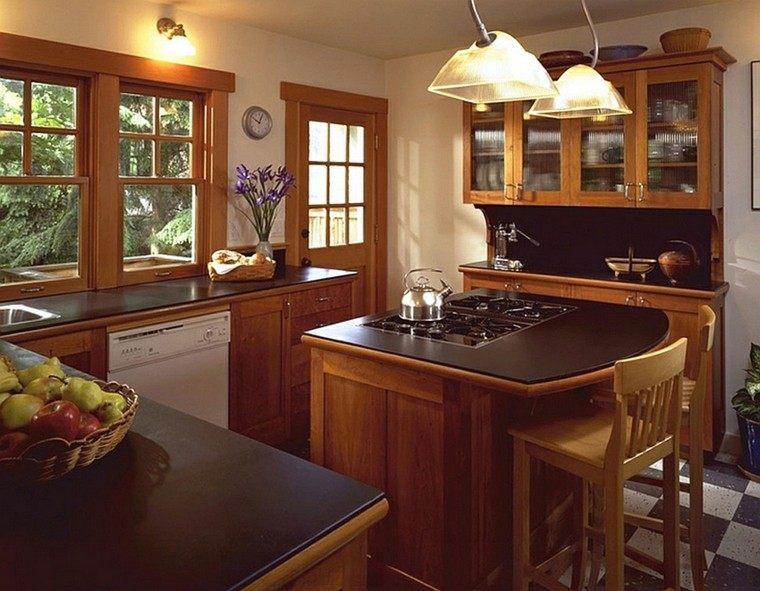 sillas madera estante lamparas cocina