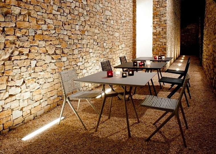 sillas mesas metal exterior diseño ideas moderno