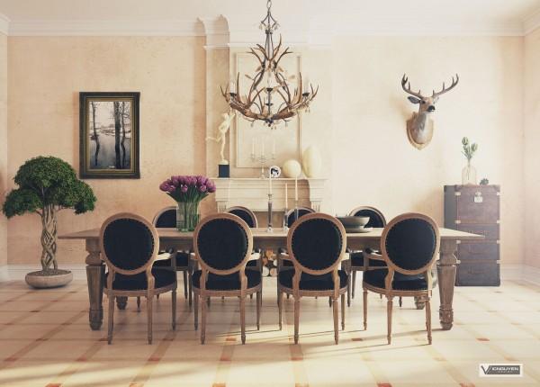 sillas negras comedor salón lujoso