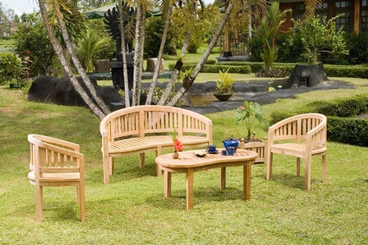 sillas redondas teca jardin mesita