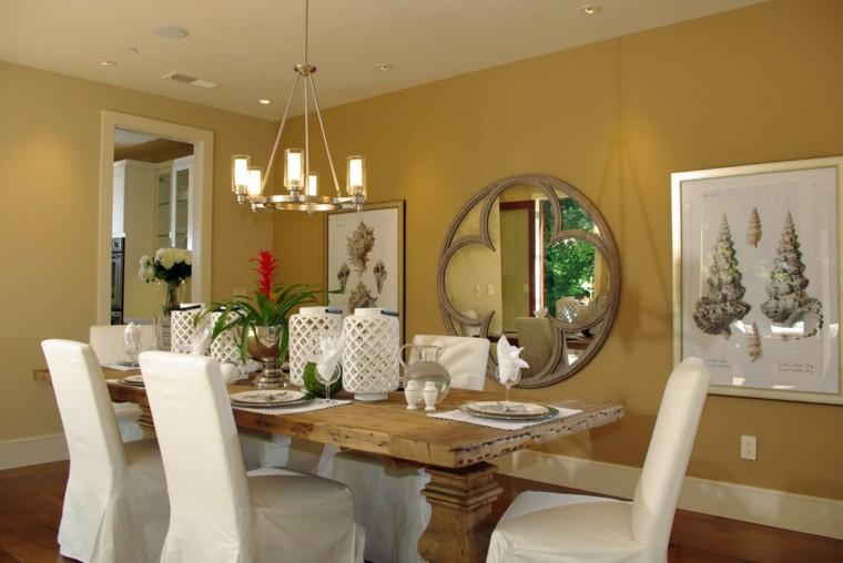 sillas revestidas tejido blanco mesa madera moderno