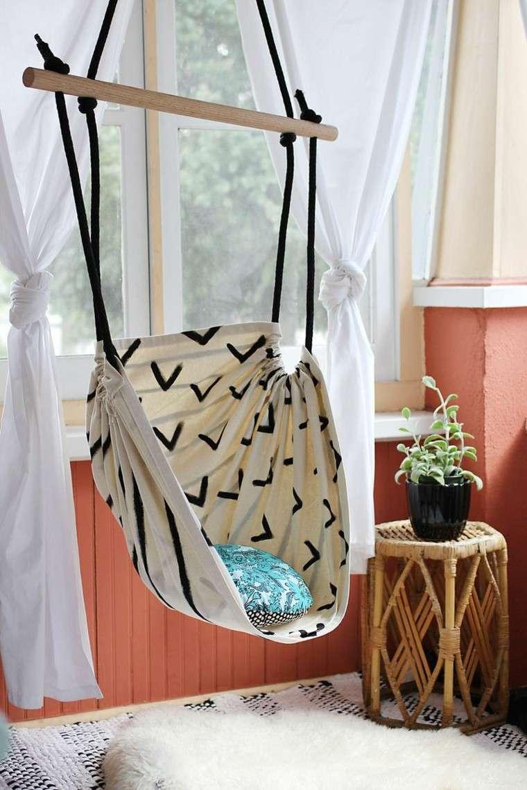 sillon colgante tela comodo jardin ideas