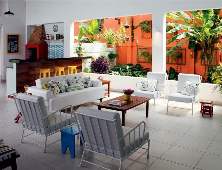 sillon jardin acero blanco cojines ideas moderno