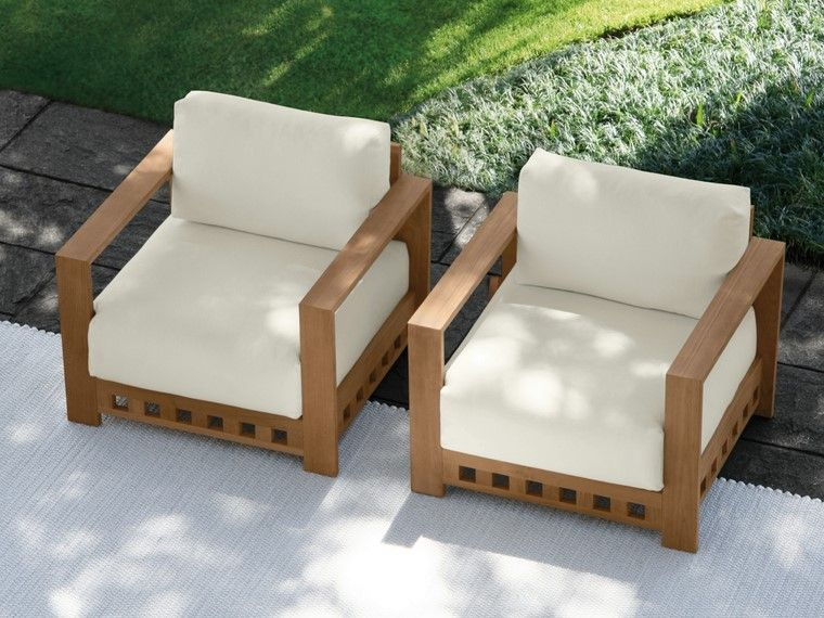 Sill n relax para los jardines con dise o original for Sillon madera exterior