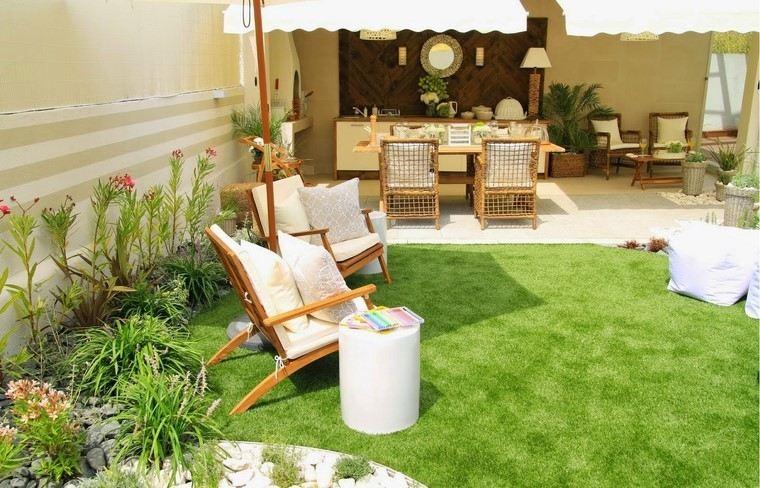 sillón relax jardin cesped ideas cojines originales
