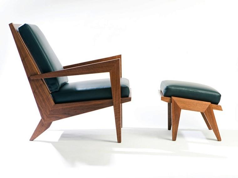 sillon taburete verde madera salon
