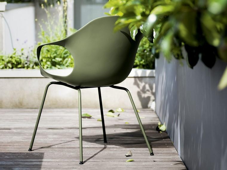 sillon verde plastico acero comodo elegante jardin