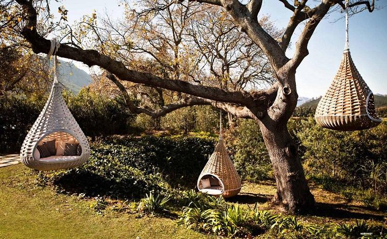 sillones colgantes diseno moderno arbol varias ideas