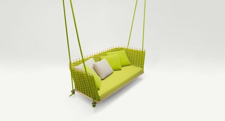 sillones colgantes diseno moderno verde jardin ideas