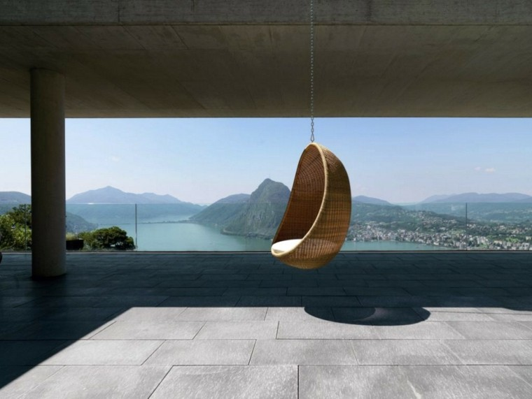 sillones colgantes de jardín ideas bonito beige rattan moderno
