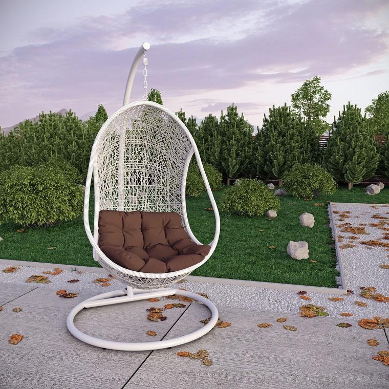 sillones colgantes de jardín ideas modernas blanco bonito