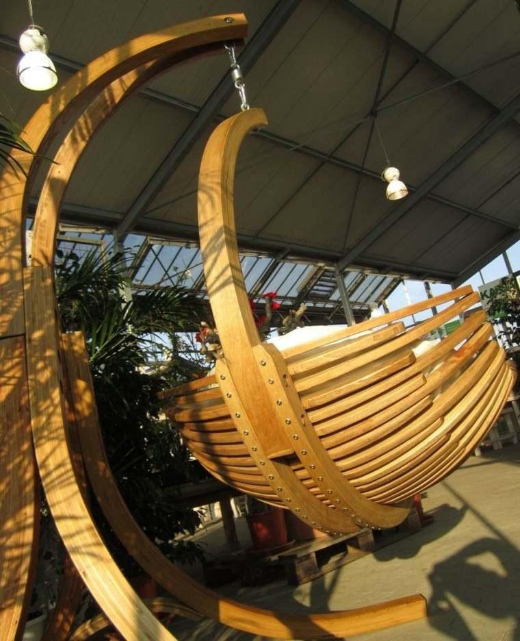 sillones colgantes de jardín madera teca ideas perfectas
