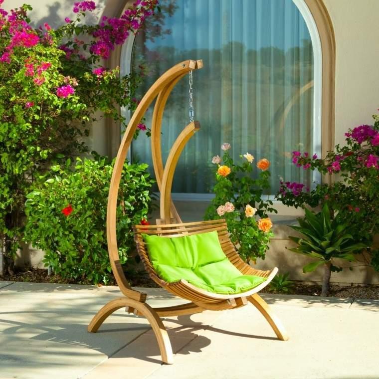 sillones colgantes de jardín teca pie cojin verde vibrante